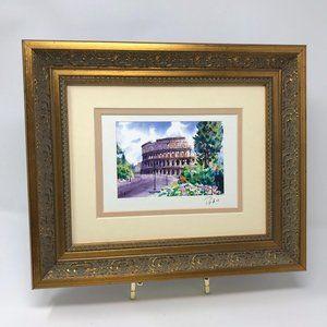 Roman Coliseum Watercolor Print Framed Signed 3A
